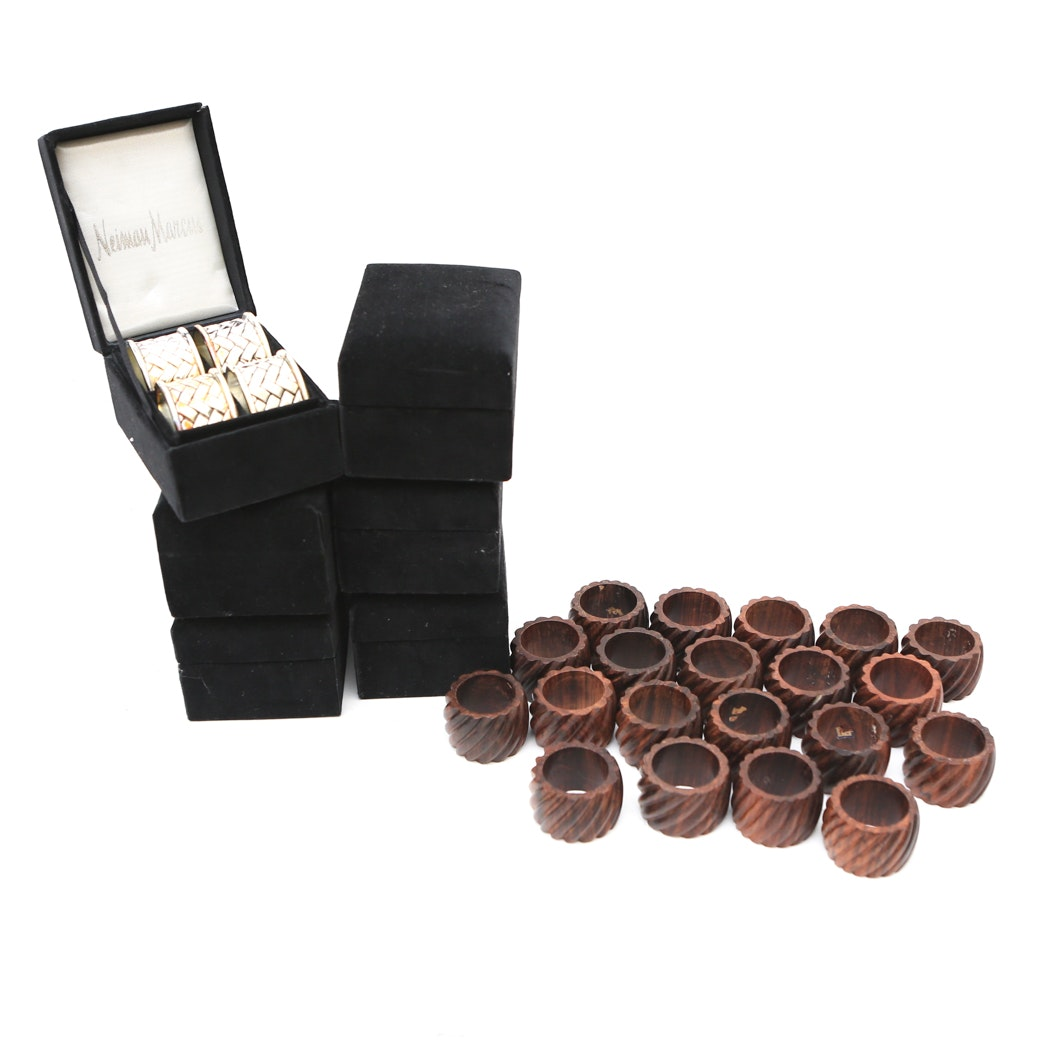 Collection of Wooden and Silver Plate Napkin Rings