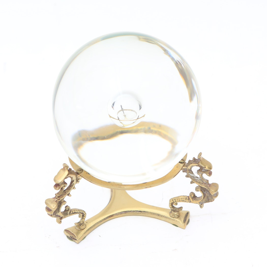 Crystal Ball on Asian Inspired Brass Stand