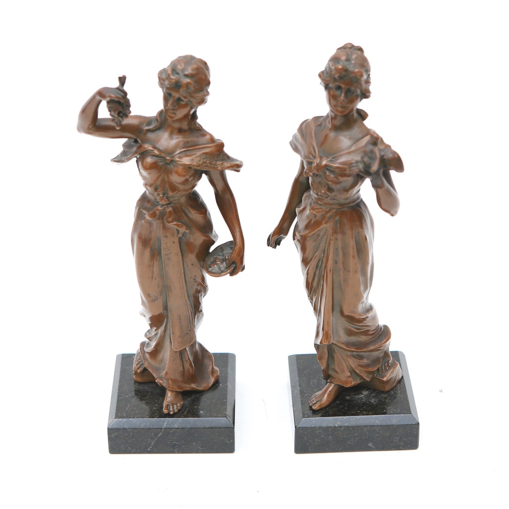 Pair of Bronze Maiden Sculptures