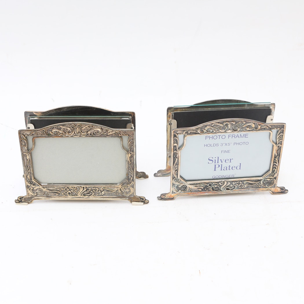 Pair of Silver Plated Letter Holder Picture Frames by Godinger