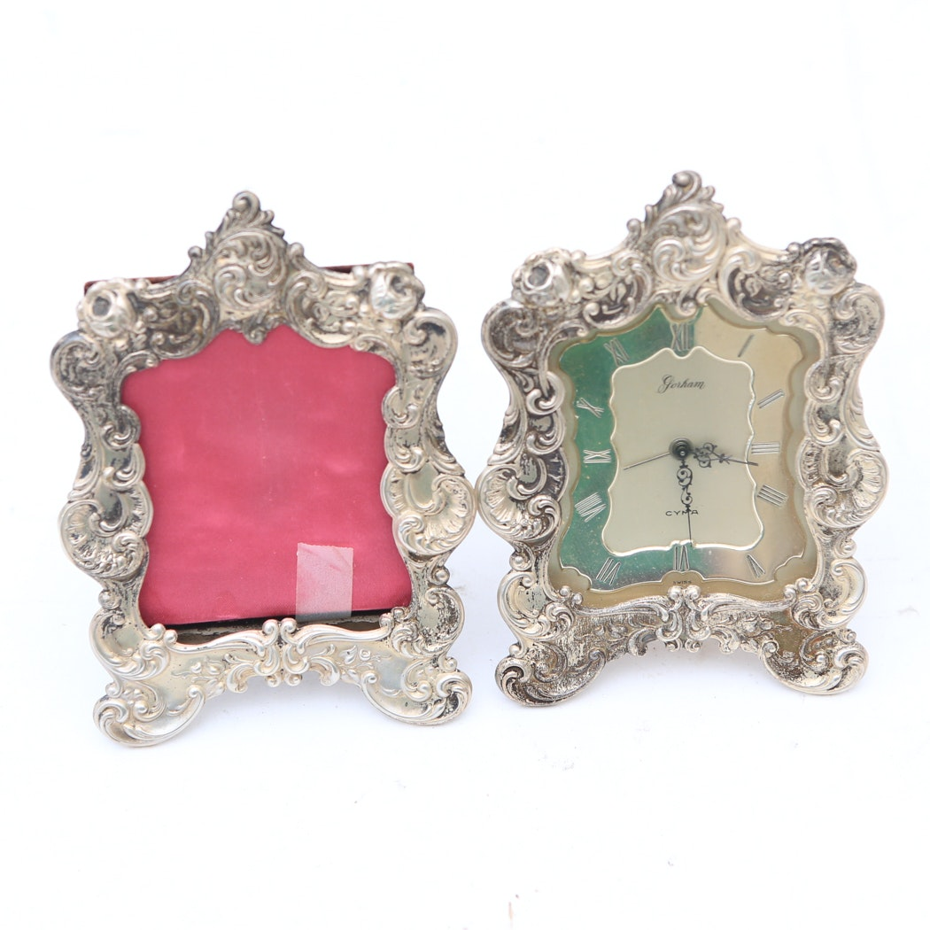 Gorham Sterling Silver Clock and Picture Frame