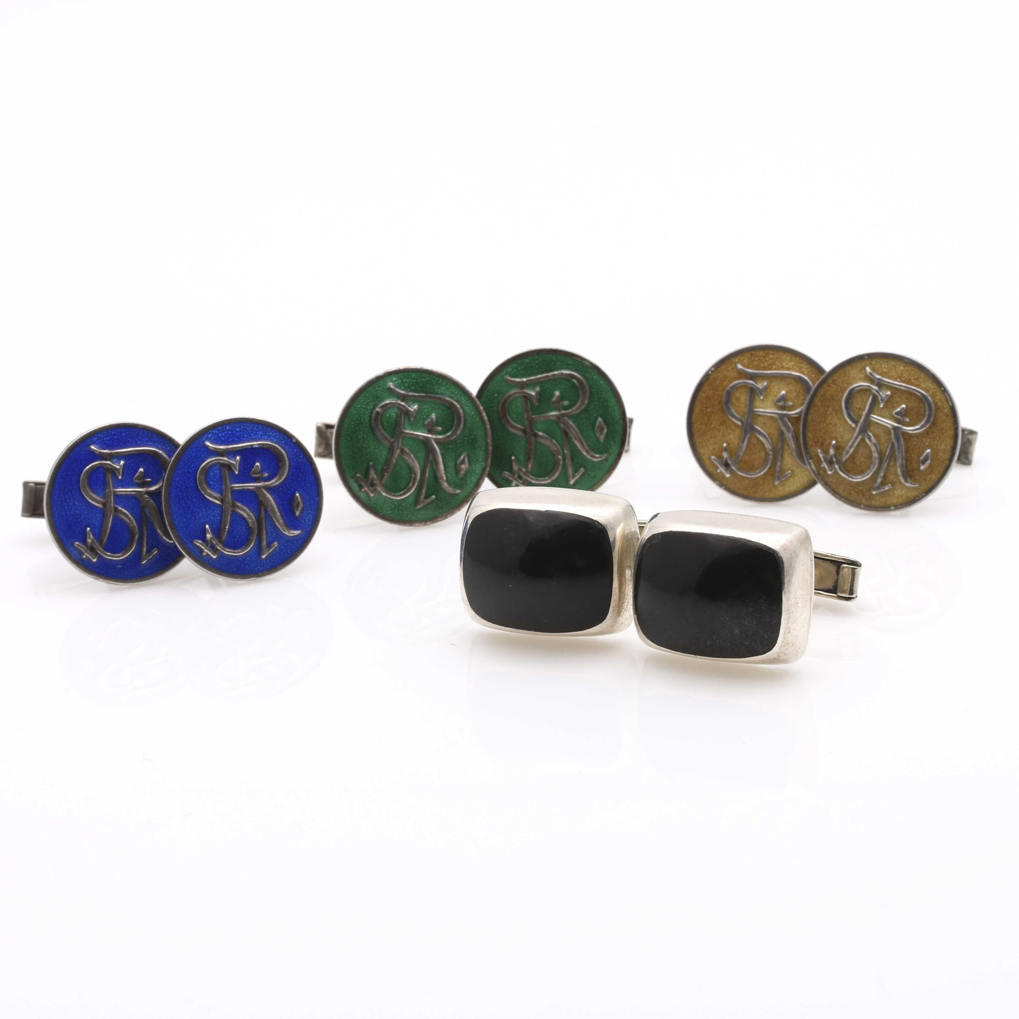 Sterling Silver Onyx and Enameled Cufflink Assortment