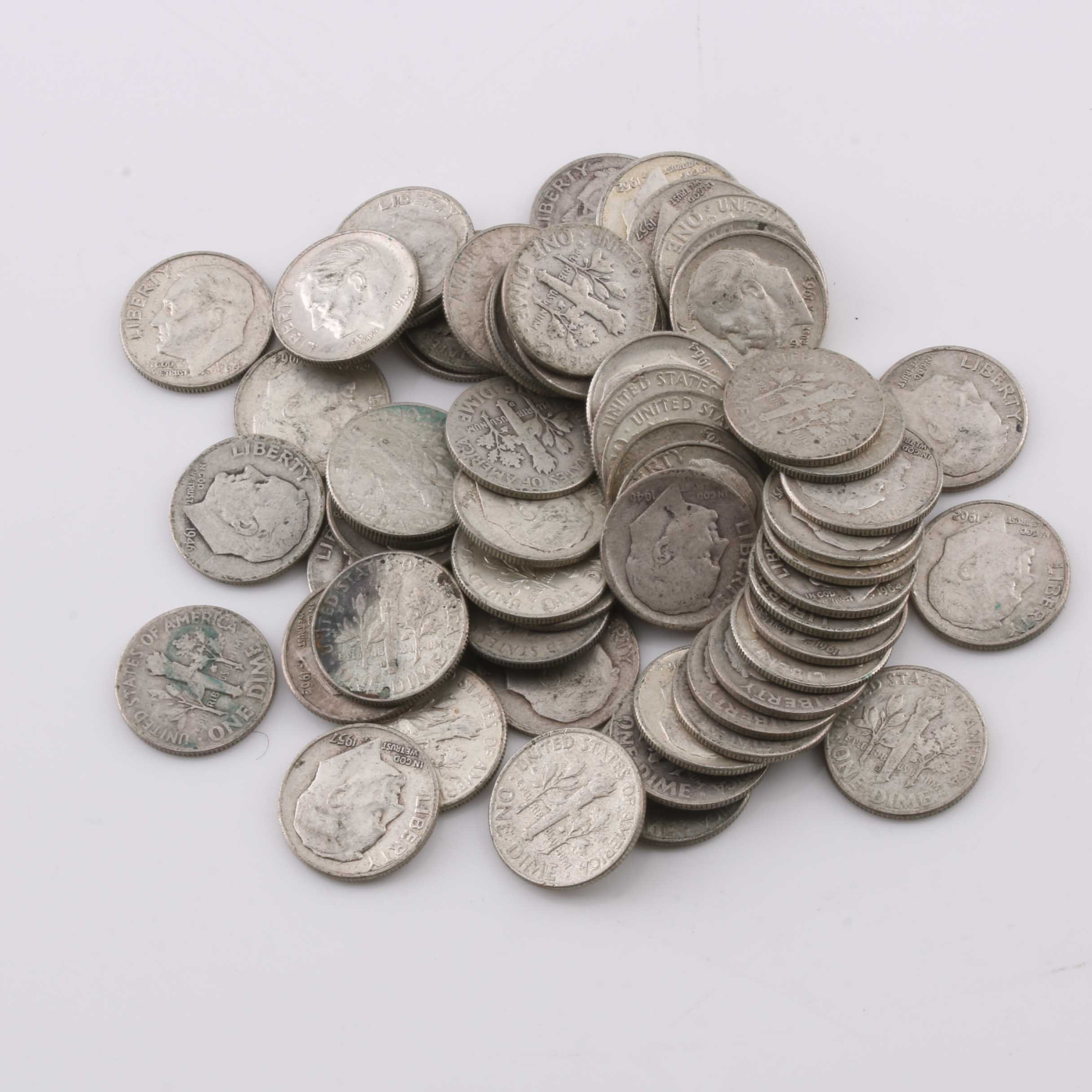 Group of 59 Silver Roosevelt Dimes of Varying Years
