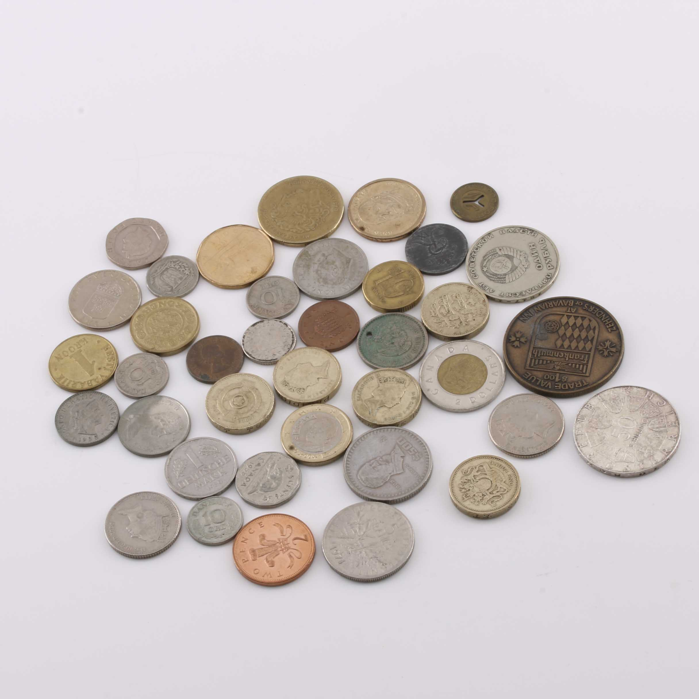 Group of 36 Foreign Coins and Miscellaneous Tokens