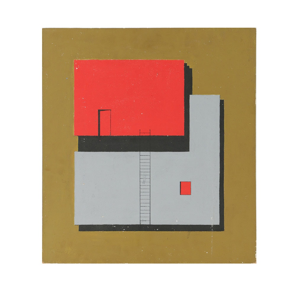 Acrylic Painting on Board Architectural Composition