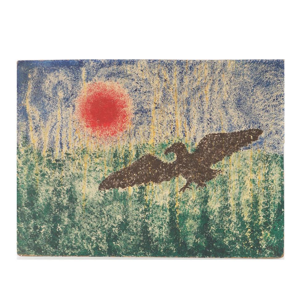 Acrylic Painting on Board Abstract Flying Bird
