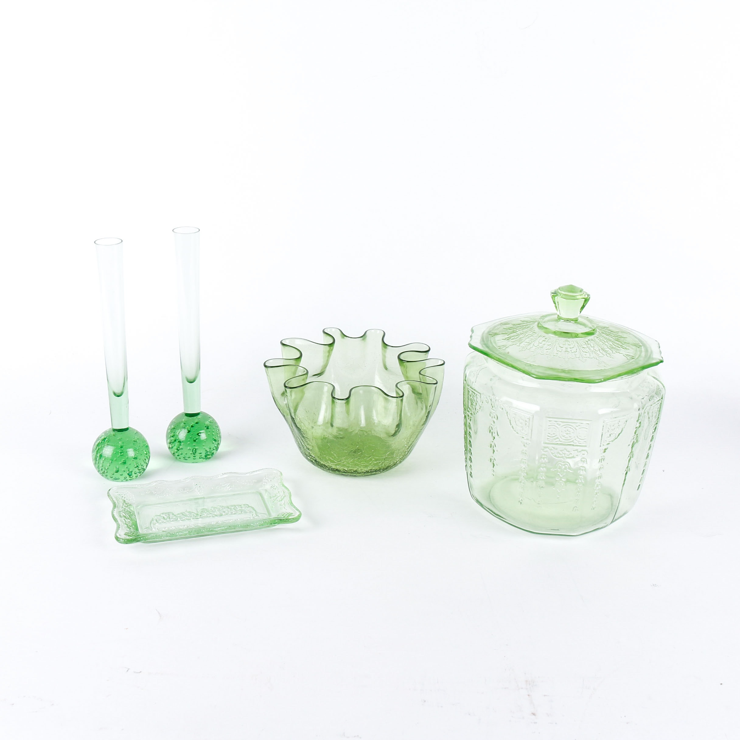 Collection of Vintage Green Depression Glass