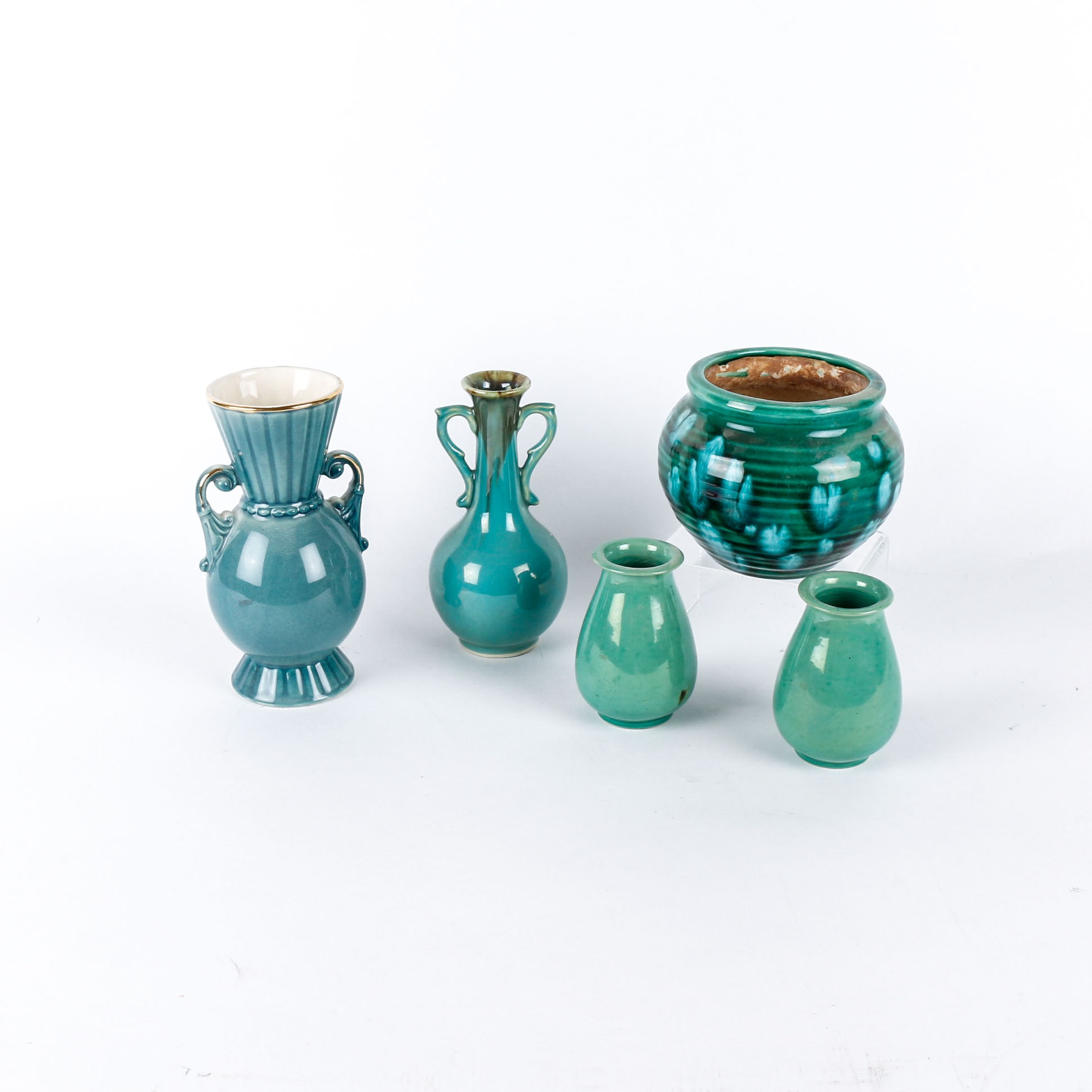Collection of Five Teal Pottery Pieces