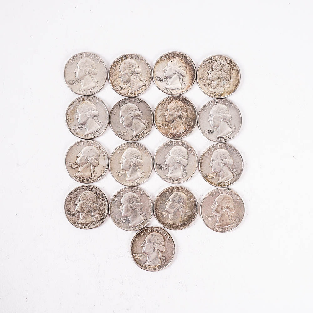 Seventeen 1964 Washington Silver Quarters