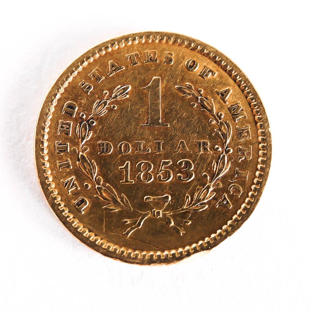 1853 Liberty Head $1 Gold Coin