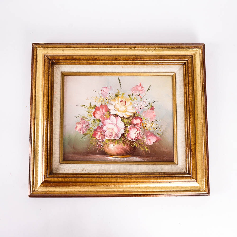 Artist Signed Floral Oil Painting
