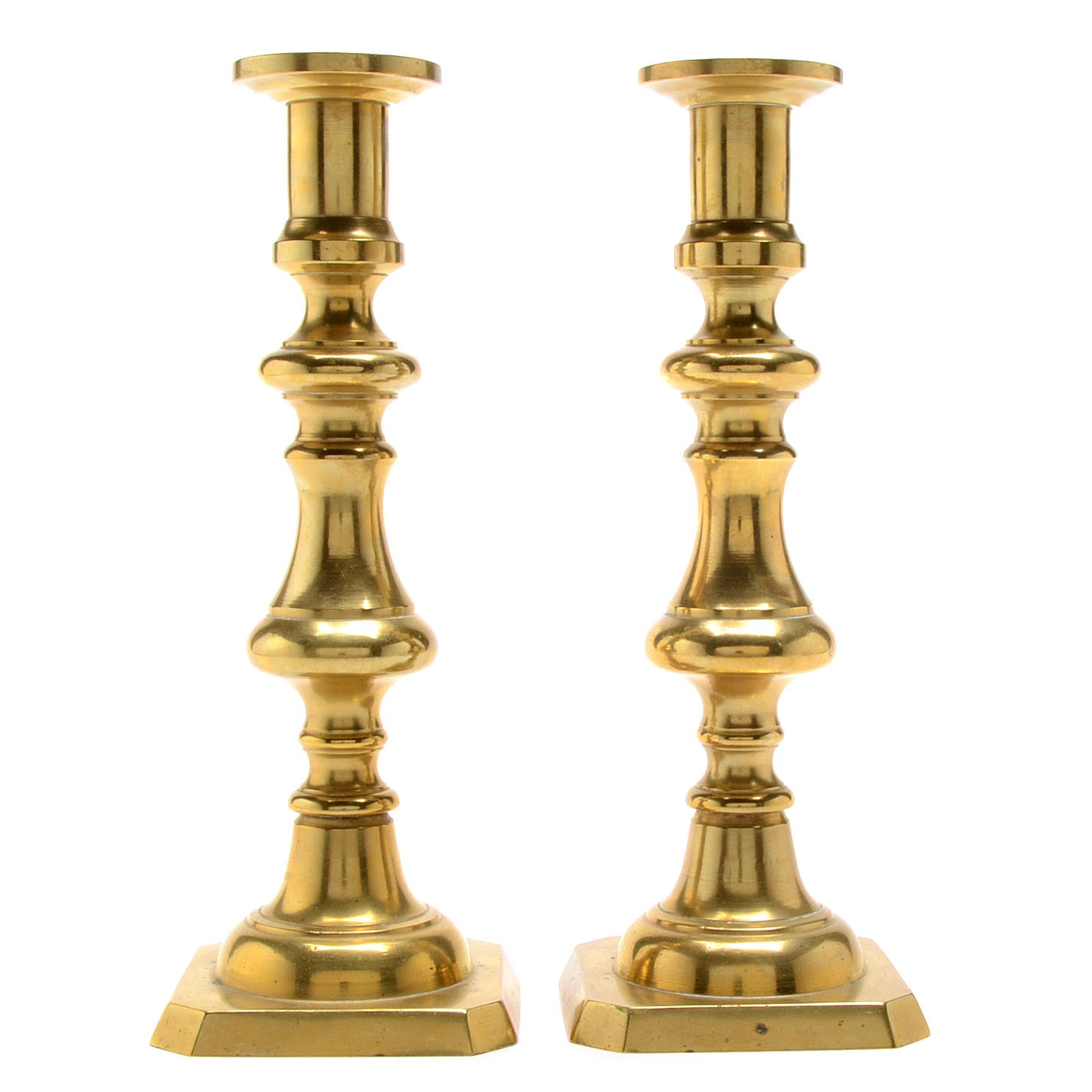 Antique Brass Push-Up Candle Holders