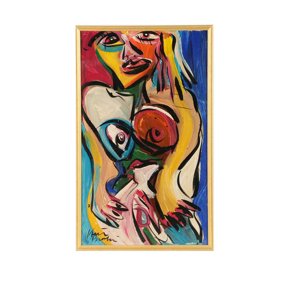 Peter Keil Acrylic Painting on Board Abstract Female Nude