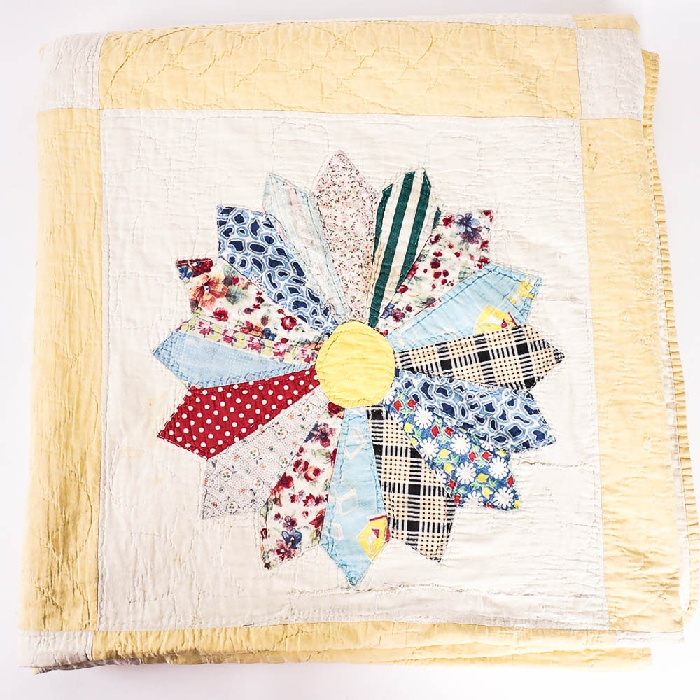 Hand Stitched Floral Quilt