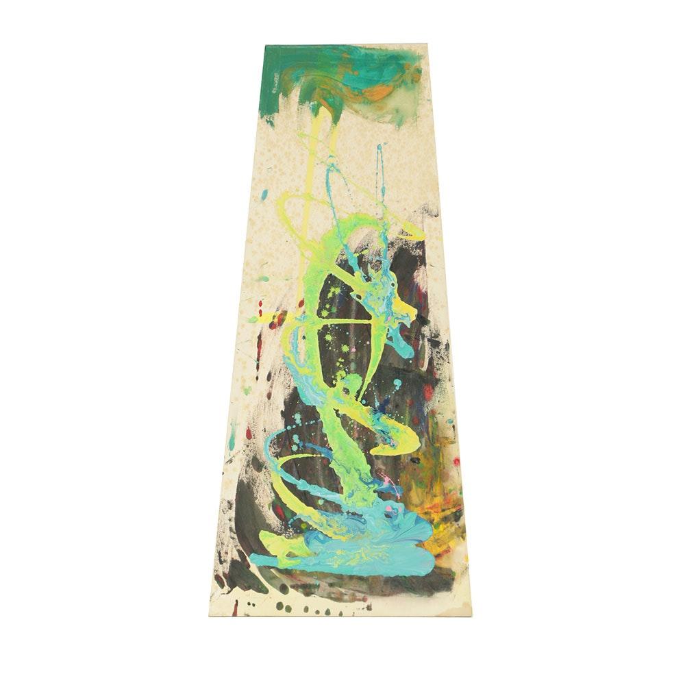 Acrylic Painting on Canvas Abstract Scene on Asymmetric Canvas