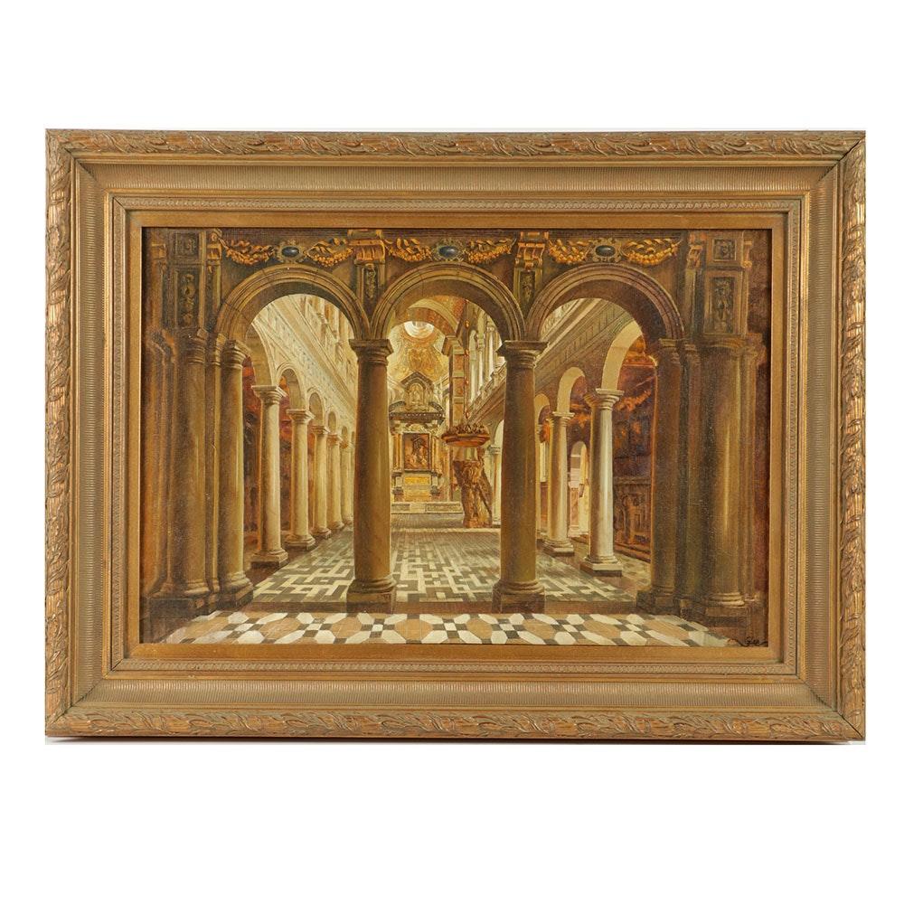 G. Lee Oil Painting on Linen of Baroque Church Transept