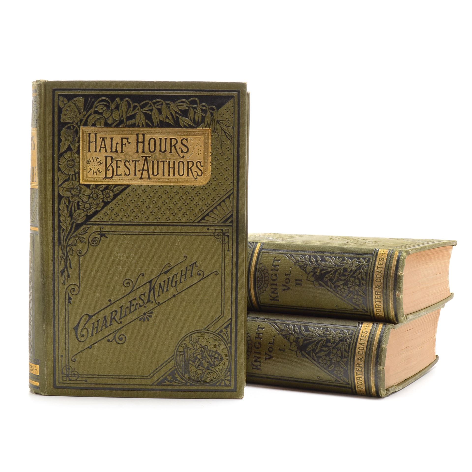 """Late 1800s """"Half Hours with the Best Authors"""" Hardcover Books"""