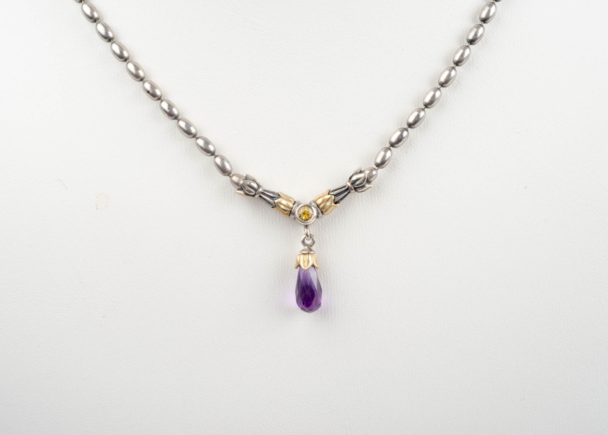 18K Yellow Gold, Sterling Silver, Amethyst and Yellow Sapphire Necklace