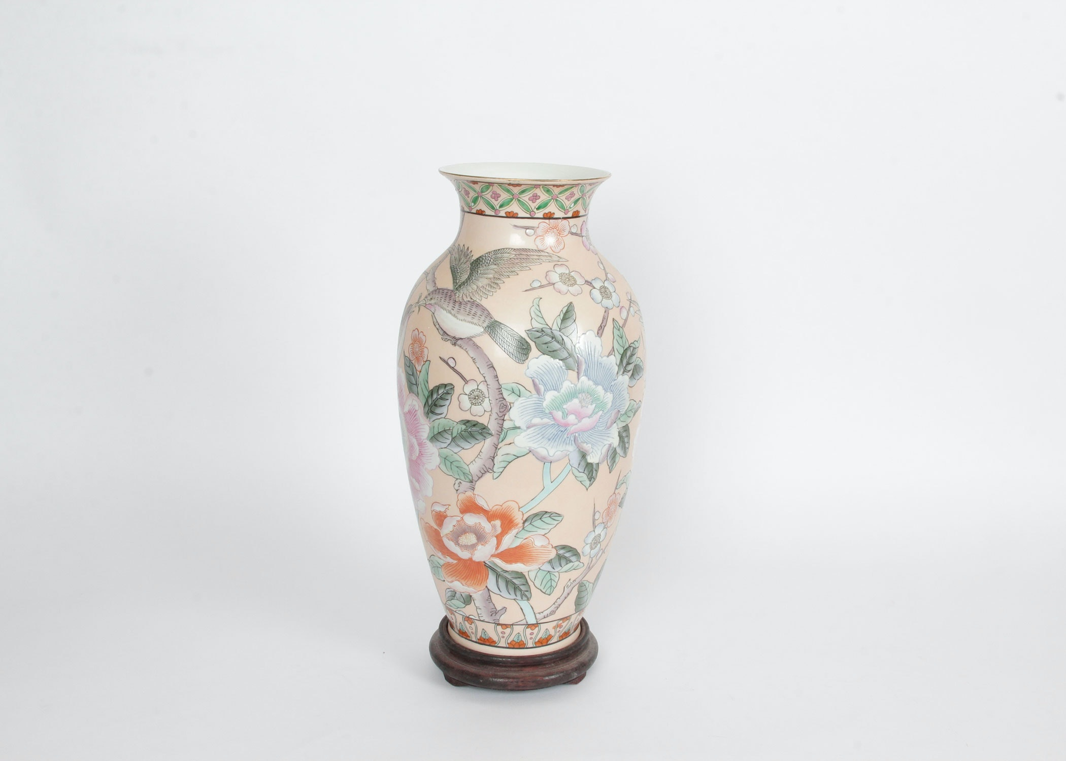 Neiman Marcus Floral Chinese Inspired Vase