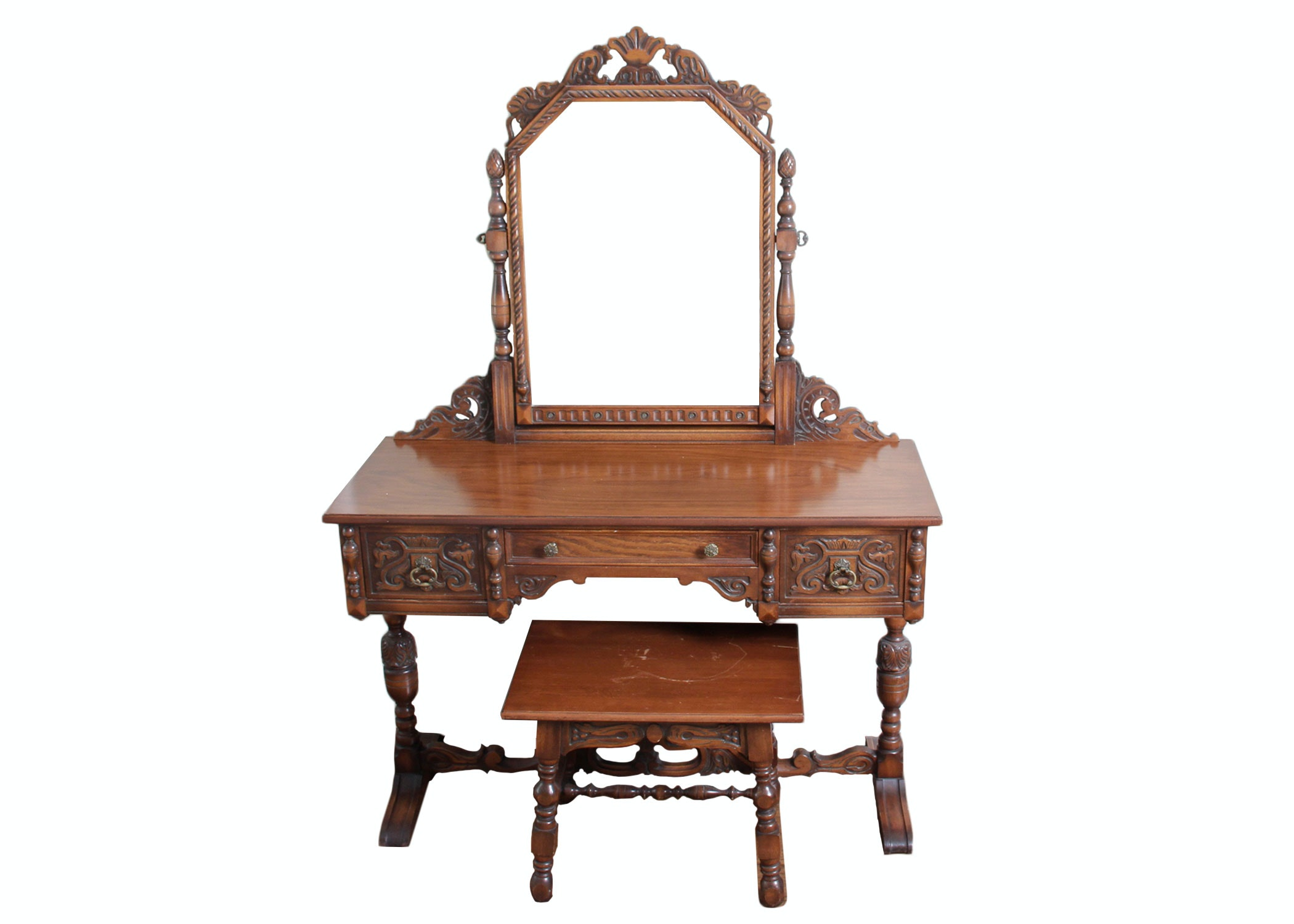 Early 20th Century Jacobean Style Vanity and Stool by Rockford