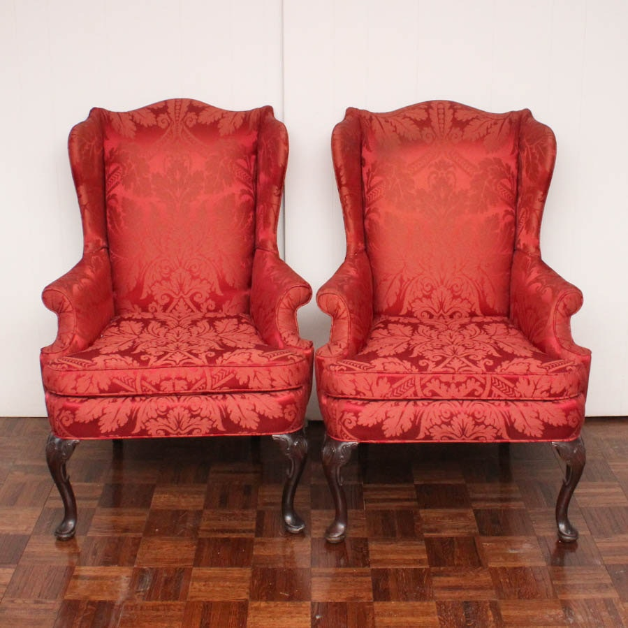 Vintage Brocade Silk Wingback Chairs