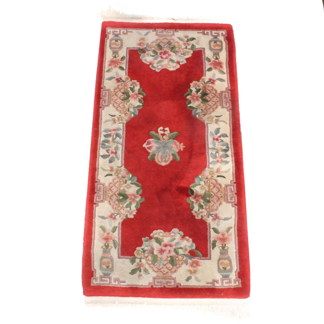 Hand-Knotted Chinese Sculpted Floral Carpet Runner