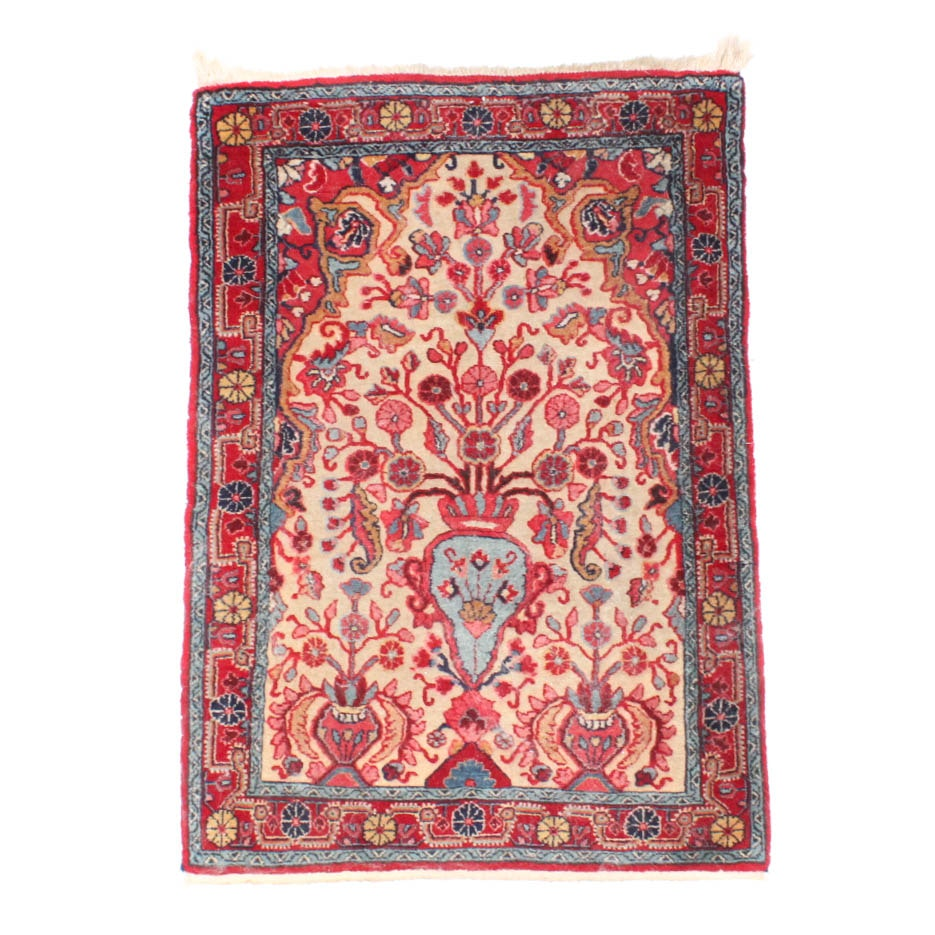 Hand Knotted and Sculpted Persian Sarouk Area Rug