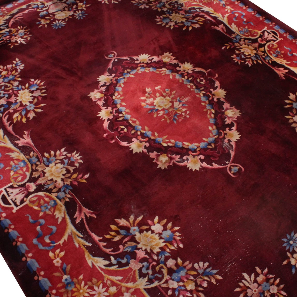 Vintage Power Loomed Room Size Chinese Area Rug