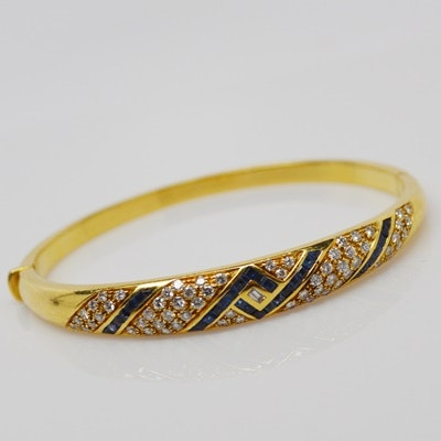 Fred Joaillier 18K Yellow Gold Diamond and Sapphire Bracelet