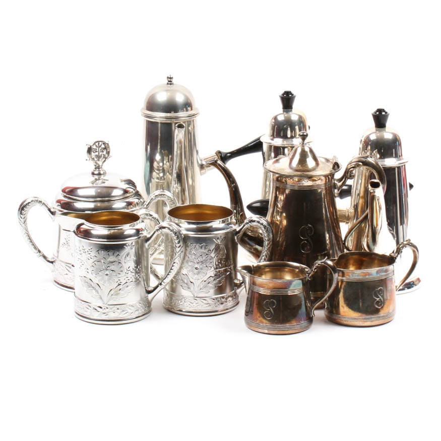 Vintage Silver Plate and Pewter Coffee and Tea Service Assortment