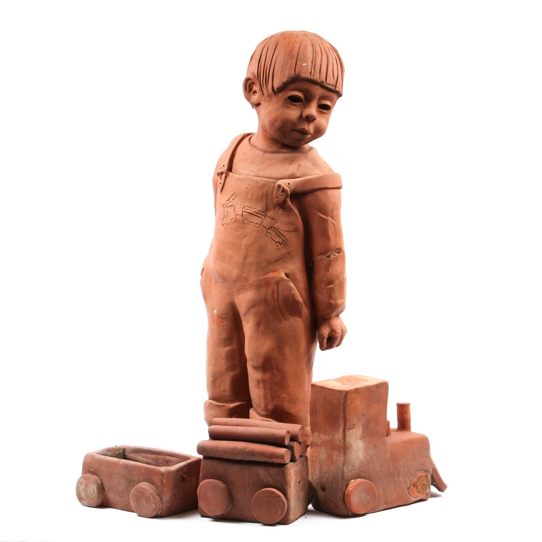 Ann Entis Boy and Train Terracotta Sculptures