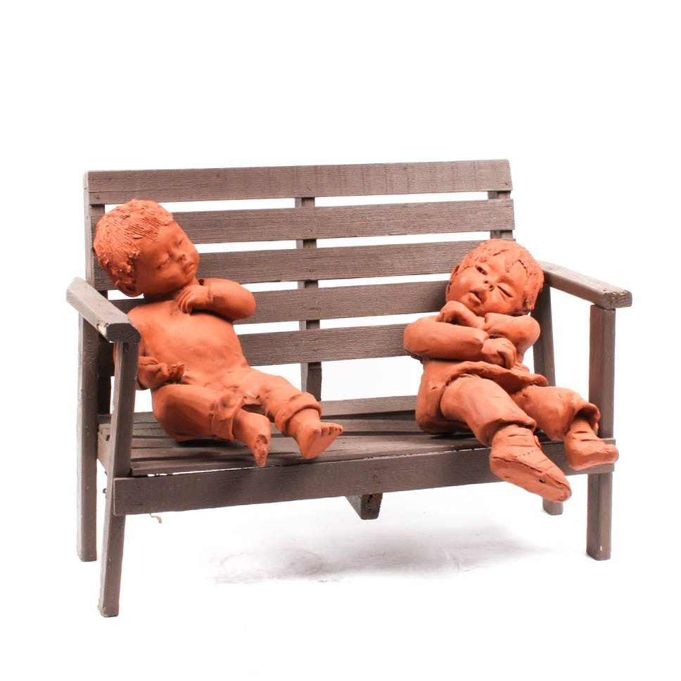 Ann Entis Children on a Bench Terracotta Sculptures
