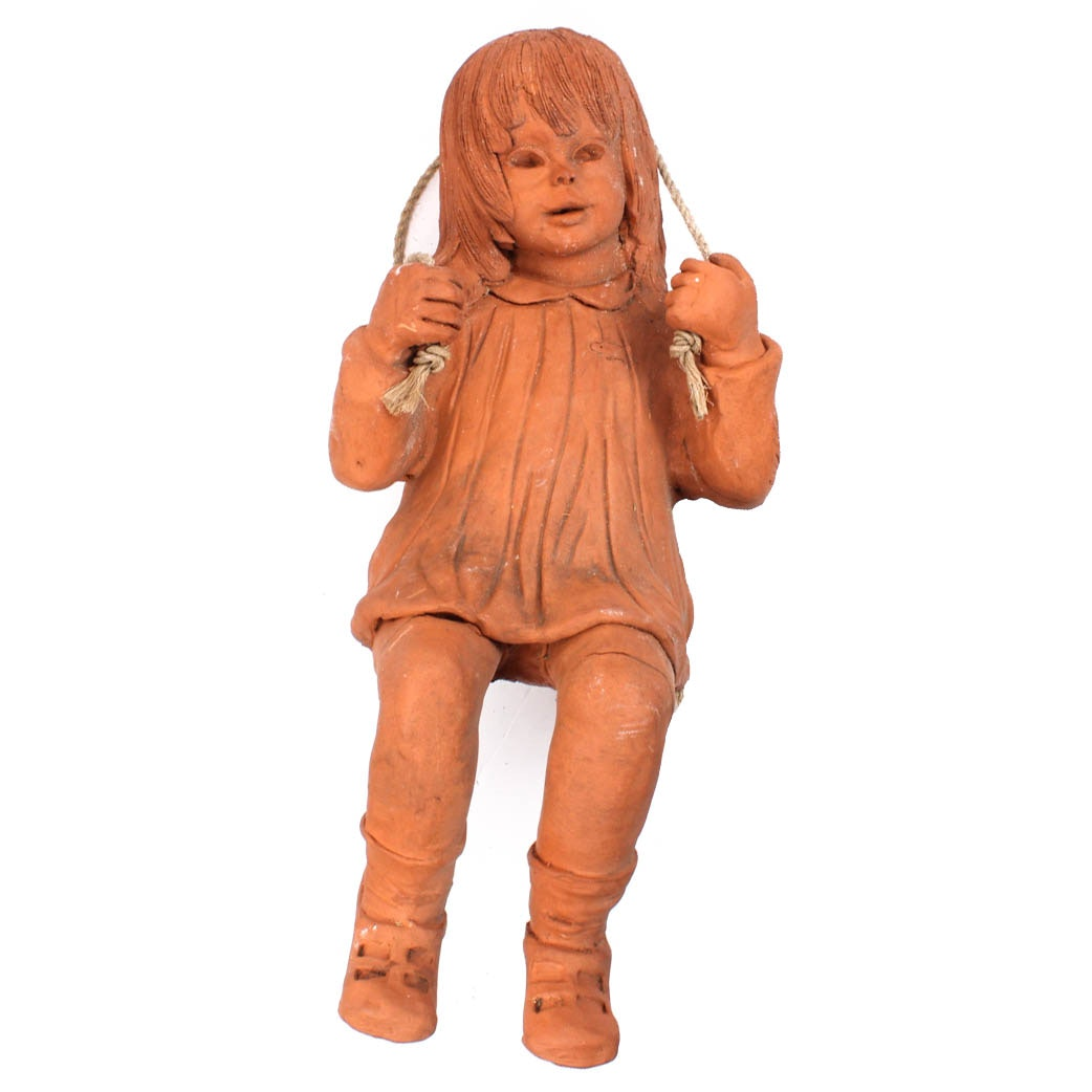 Ann Entis Swinging Girl Terracotta Sculpture