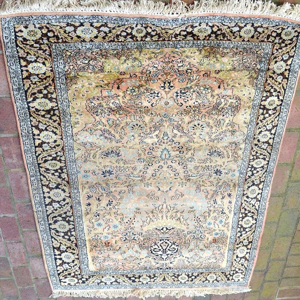 Hand-Knotted Kerman Silk Prayer Rug