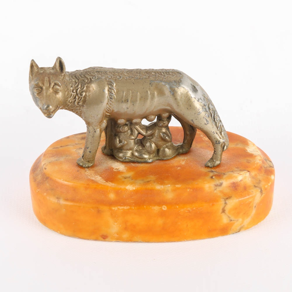"""""""She-Wolf With Romulus and Remus"""" Brass Figurine"""
