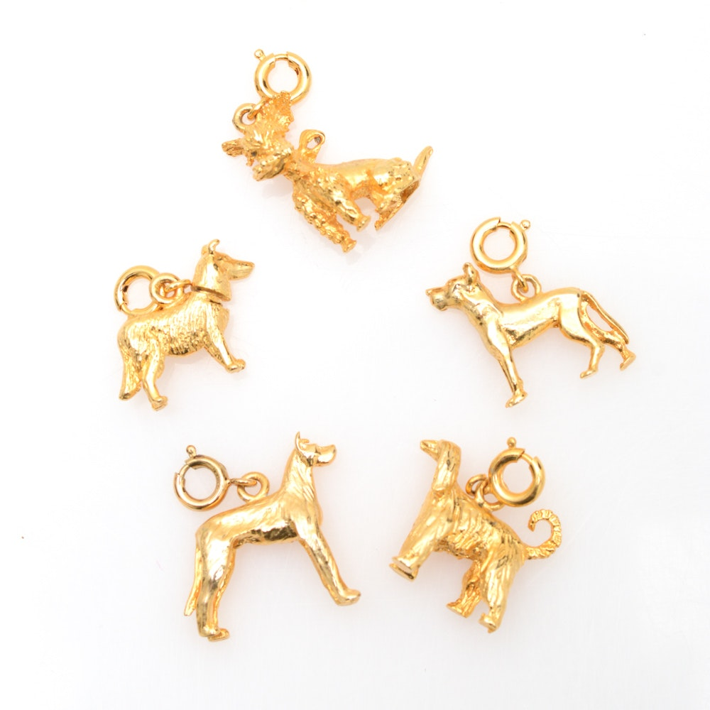 Five 12K Gold Filled Dog Charms