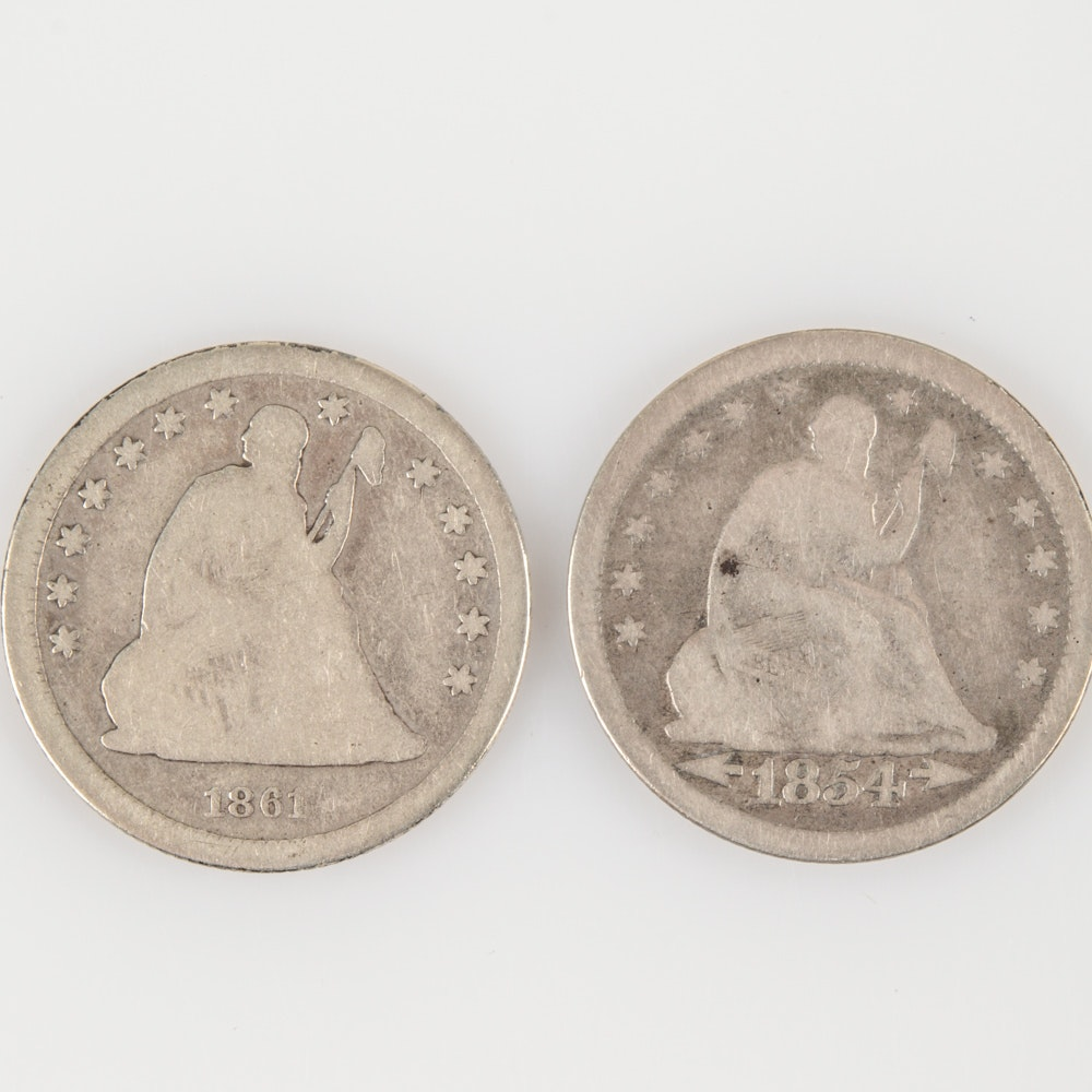 "1854 ""Arrows No Rays"" and 1861 Seated Liberty Silver Quarters"