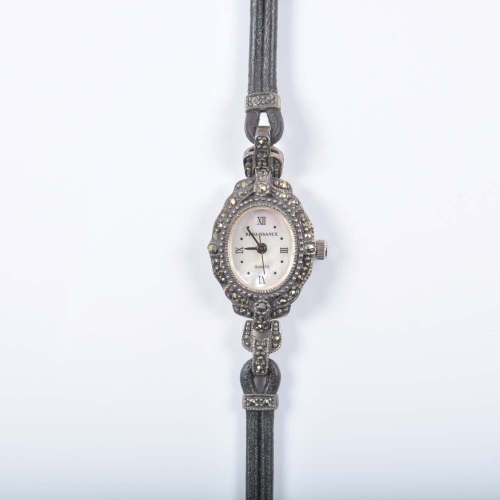 Renaissance Sterling Silver and Marcasite Wristwatch