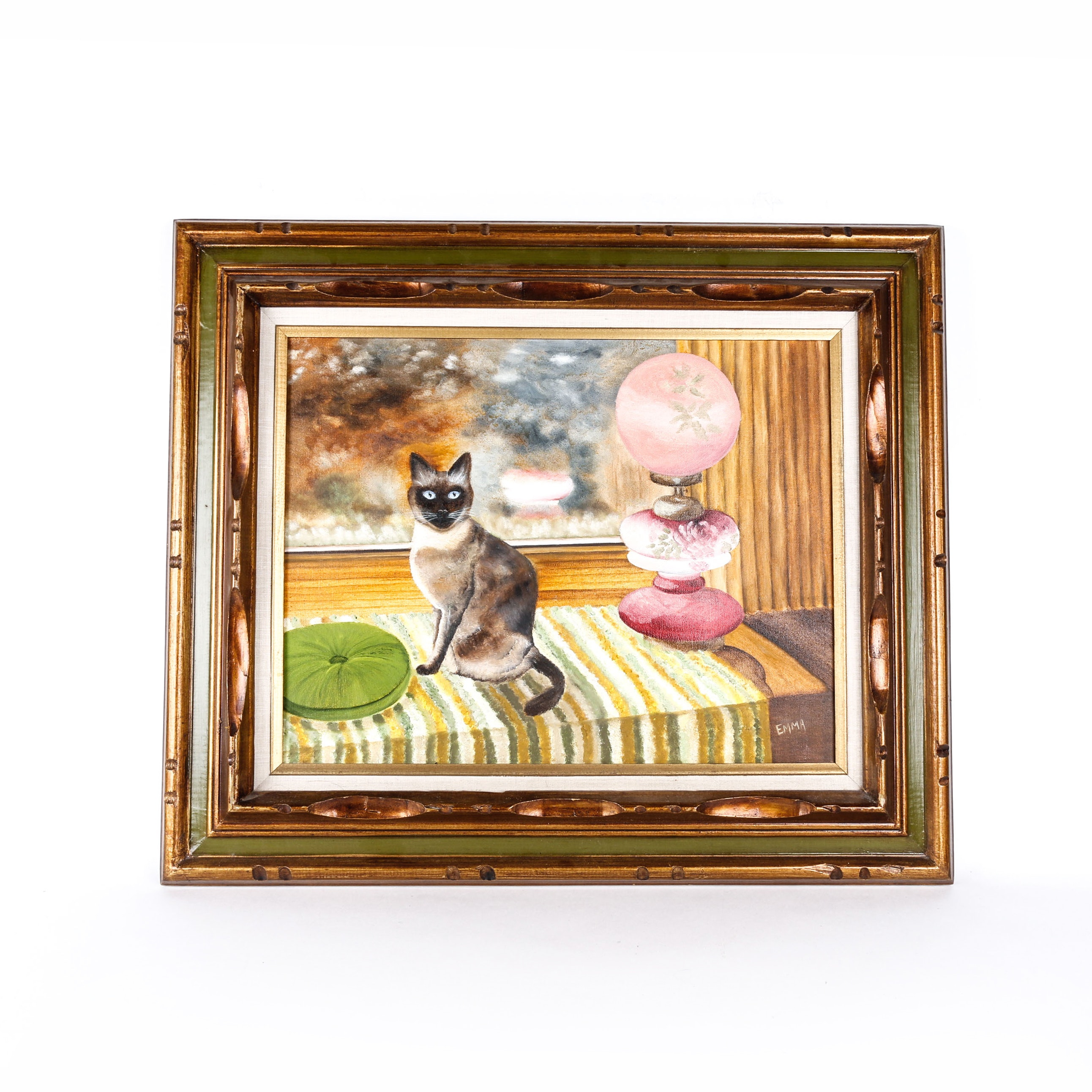 Original Oil Still Life of Cat and Lamp