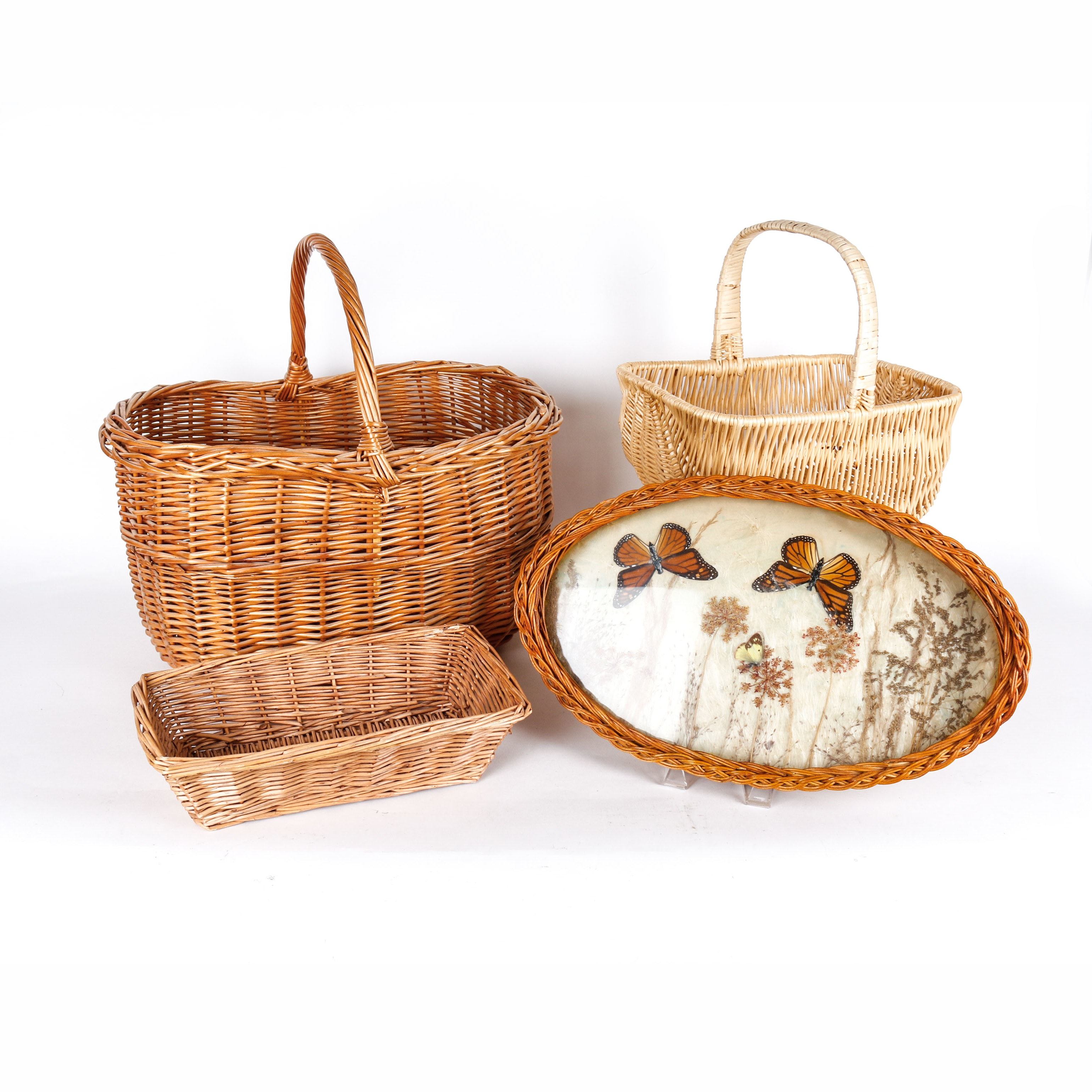 Selection of Vintage Wicker Baskets and A Tray