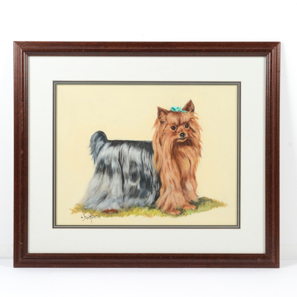 """Signed Ole Larson Oil on Board Titled """"Yorkshire Terrier"""""""