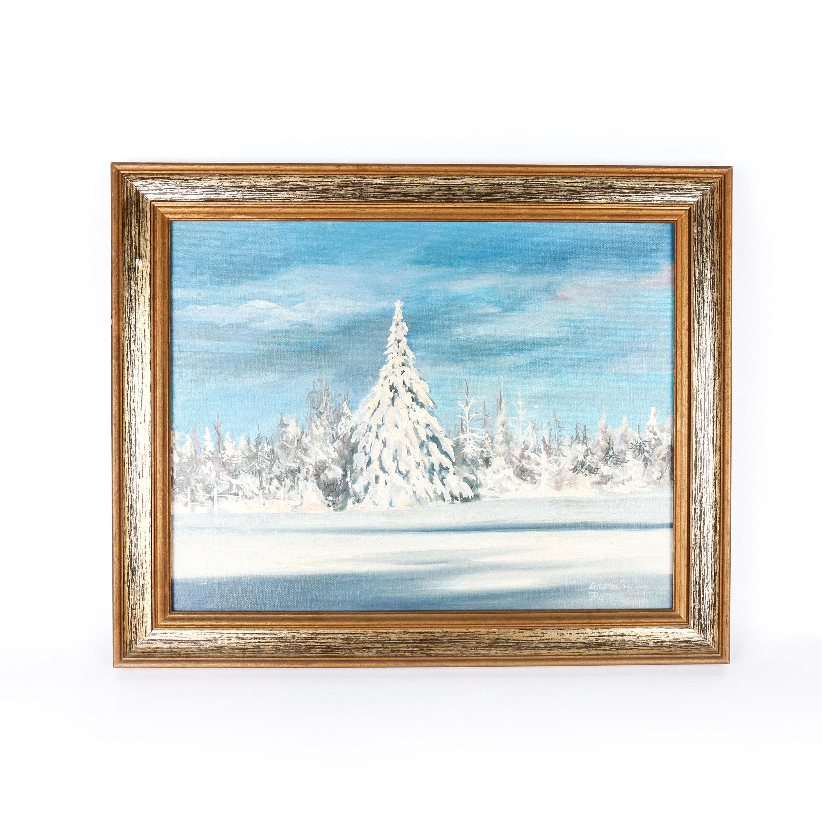 Acrylic on Canvas Snow Landscape