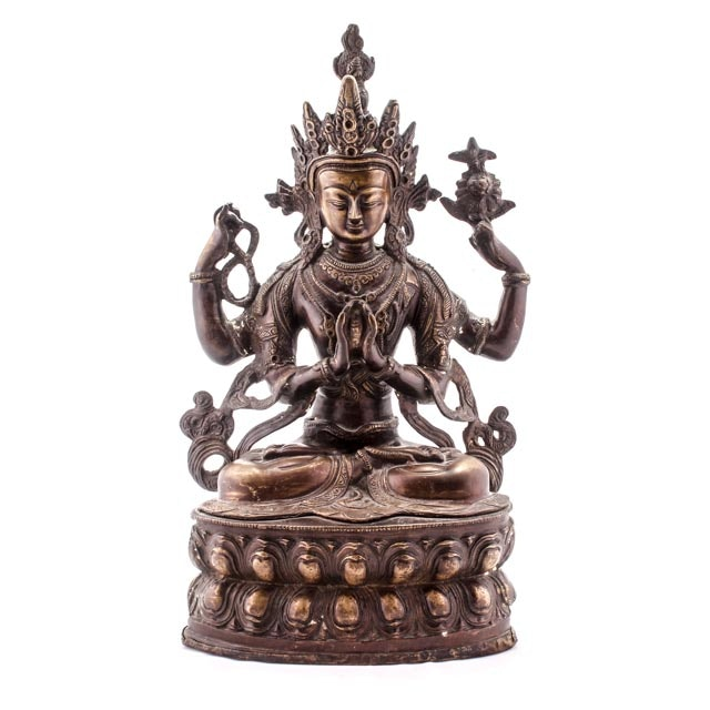 Early 20th Century East Asian Chenrezig Avalokiteśvara Bodhisattva Bronze Sculpture