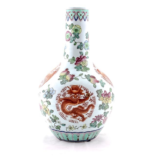 Large 20th Century Chinese Export Dragon and Phoenix Vase