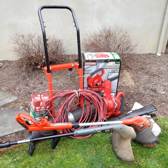 Utility Cart and Yard Tools