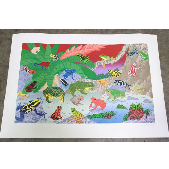 """Joe Petro Limited Edition Offset Lithograph on Paper """"Frogs"""""""