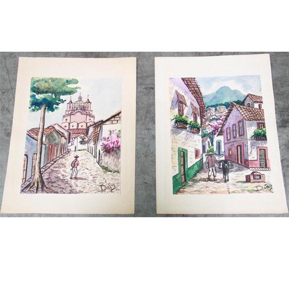 Original Diaz Watercolors on Paper