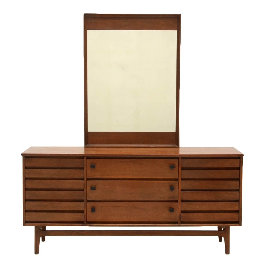 Stanley Walnut Triple Dresser with Mirror