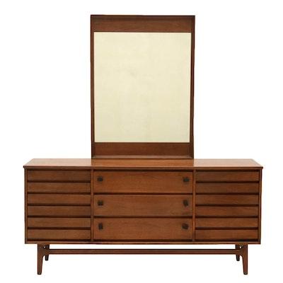 Stanley Walnut Triple Dresser with Mirror