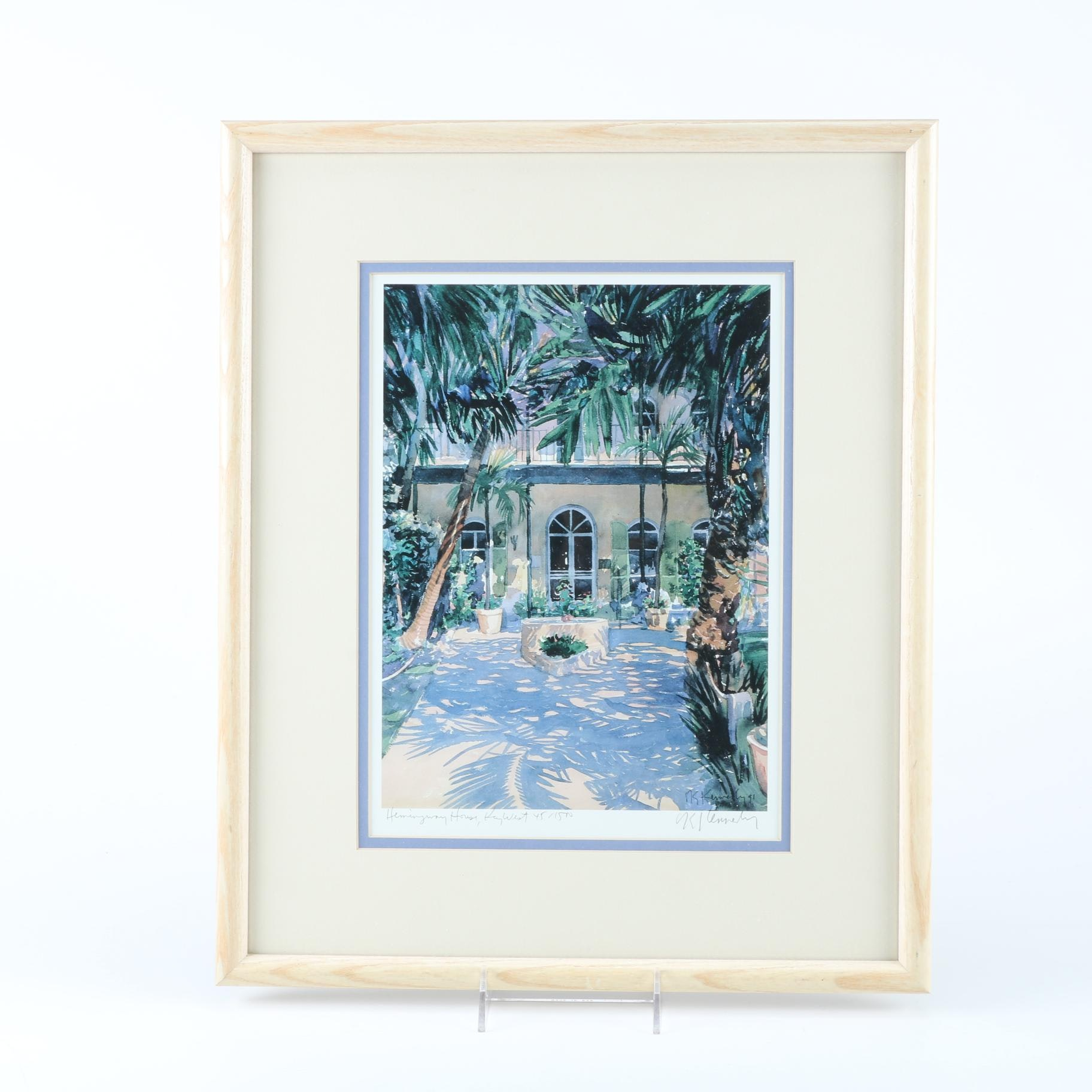 "Robert E. Kennedy Limited Edition Offset Lithograph ""Hemingway House"""